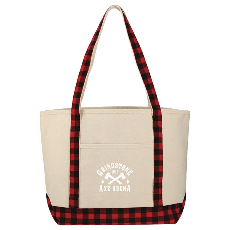 Buffalo Plaid Cotton Boat Tote