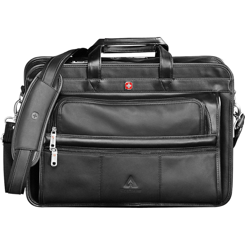 Wenger® Leather Double Compartment Attache