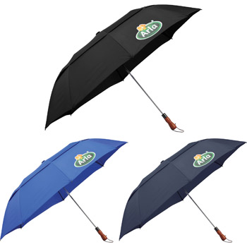 "56"" Auto Open Folding Umbrella w/ wood handle"