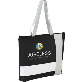 Cross Block Zippered Business Tote
