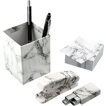 5 Piece Faux Marble Desktop Set