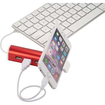 Aluminum 4-Port USB Hub & Phone Stand