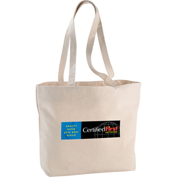 Zippered 12oz Cotton Canvas Shopper Tote