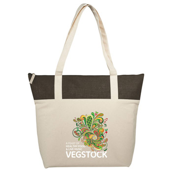 12 oz. Cotton and Jute Accent Zippered Tote