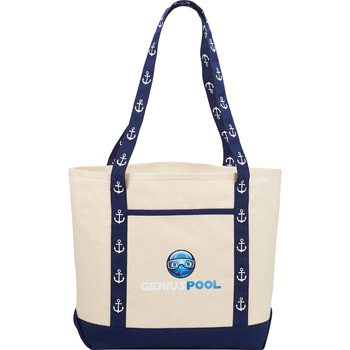 8 oz. Cotton Printed Handle Boat Tote